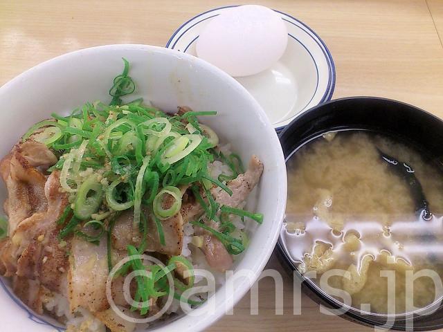 ネギ塩豚カルビ丼(並)、生玉子@松屋