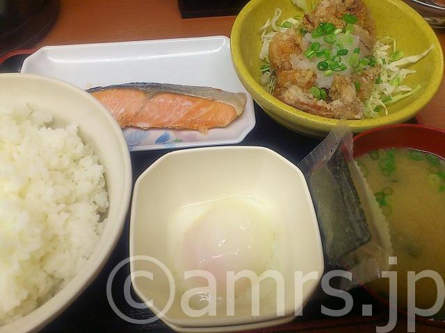 得朝定食(銀鮭&若鶏竜田)@Sガスト