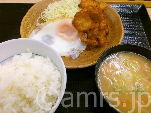 朝定食(からあげ)@かつや