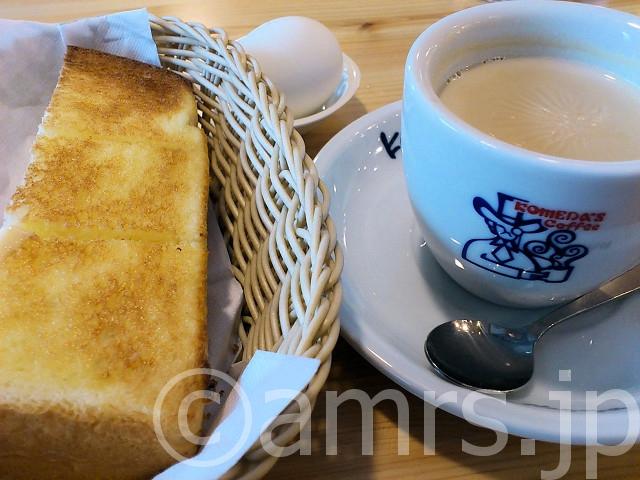 ミルクコーヒー 、モーニングサービス、ハンバーガー@コメダ珈琲店