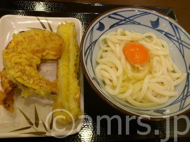 釜玉うどん(並)、かしわ天、かぼちゃ天、ちくわ天@丸亀製麺