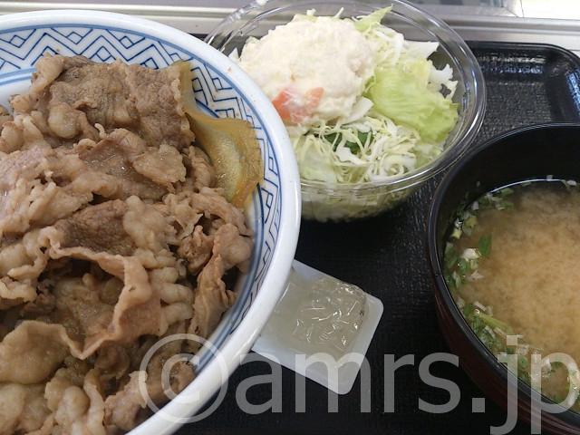 アタマの大盛、Aセット(生野菜サラダ+みそ汁)、ポテトサラダ変更@吉野家