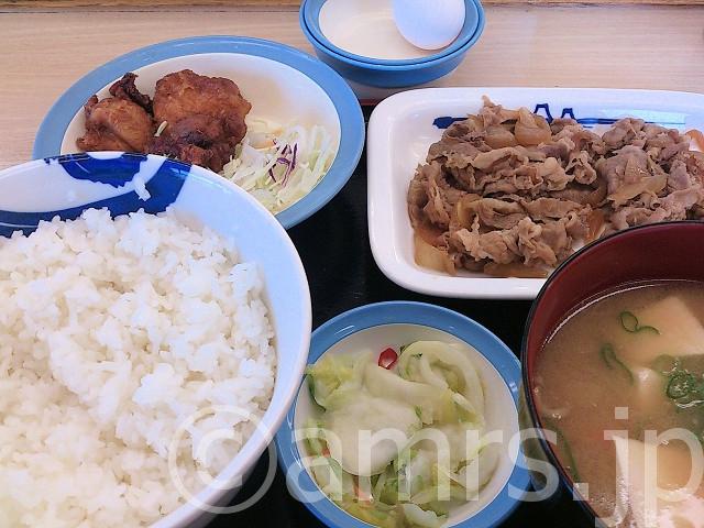 牛皿唐揚げ定食、豚汁セット@松屋