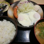 ソーセージエッグ定食、豚汁変更@松乃家