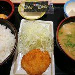 豚汁定食+コロッケ(朝定食)@松乃家