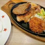 ハンバーグ〈100g〉&チキン&ヒレカツ、どん彩り野菜サラダ(ラージ)@ステーキのどん