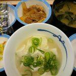 定番朝定食、湯豆腐変更@松屋