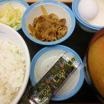 定番朝定食、豚汁@松屋