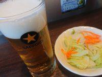 いきなりステーキ イオンモール多摩平の森店 ビール サラダ