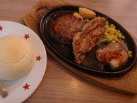 日替り(土曜日)ハンバーグ&チキン&ガーリックポーク ステーキのどん