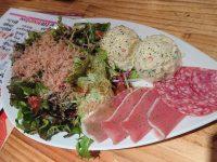 生野菜サラダ、ポテトサラダ、生ハムサラダ