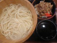 釜揚げうどん(得)+牛丼セット、かしわ天@丸亀製麺  釜揚げうどん 得盛 牛丼 セット