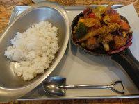 野菜を食べるカレーcamp 新橋店@東京都港区 一日分の野菜カレー+ポーク