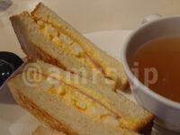 ドリップアイスコーヒー・ハムタマゴトースト@銀座ルノアール モーニング スープ付き