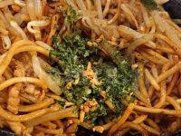 あぺたいと 銀座店@東京都中央区 両面焼きそば 中盛 卓上調味料 青のり ニンニクチップ
